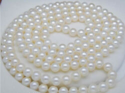 Real Natural 6-7mm Round South Sea White Pearl Necklace Long 48 Inches No Clasp
