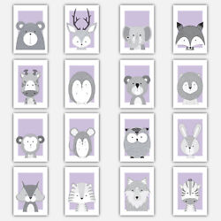 Art Print FOREST ANIMAL SKETCH Picture Poster LILAC amp; GREY Baby Nursery Wall GBP 24.50