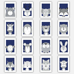Art Print FOREST ANIMAL SKETCH Picture Poster NAVY BLUE amp; GREY Baby Nursery Wall GBP 14.50