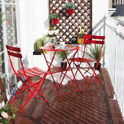 Vintage Red Garden Furniture Set Outdoor Patio Table 2 Folding Chairs Metal New