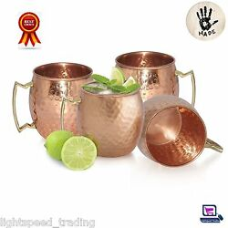 4 Moscow Mule Mugs Set Hammered Solid Copper Drinking Mug Cocktail Beer Tea Cup