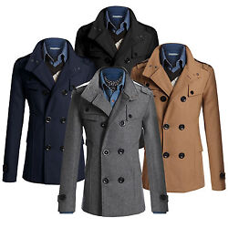 Men's Thicken Trench Coat Double Breasted Long Jacket Outwear Overcoat Peacoat
