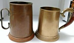 LOT OF 2 VINTAGE BEER (?) TANKARDS ~ 1 COPPER ~ 1 BRASS ~ COLLECTIBLE!
