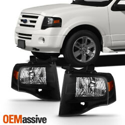 Fit 2007-2014 Expedition Headlights Lights Black L+R 07 08 09 10 11 12 13 14 $148.99