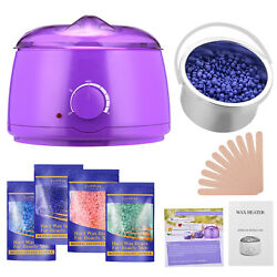 Hair Removal Hot Wax Electric Warmer Waxing Kit 4x100g Hard Wax beans