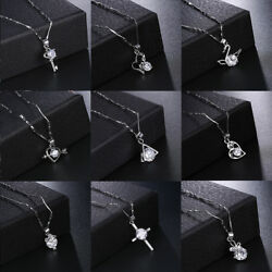 Jewelry 925 Silver Crystal Simple geometric Pendant Necklace Chain Women Gift $1.99