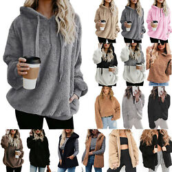 Women's Faux Fur Teddy Bear Fleece Coat Ladies Jacket Sweater Hooded Overcoat