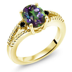 1.85 Ct Oval Green Mystic Topaz Black Diamond 18K Yellow Gold Plated Silver Ring