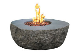 Elementi Outdoor Boulder Fire Pit Table 43 x 35 Inches Natural Gas Fire Bowl