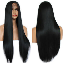 Silky Straight Long Lace Front Wig Black Color Synthetic Hair Wigs Fashion Women $27.14