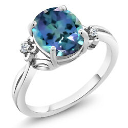 0.04 Ct Oval Millennium Blue Mystic Topaz White Topaz 925 Sterling Silver Ring