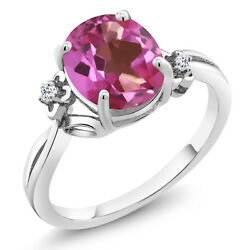 2.74 Ct Oval Pink Mystic Topaz White Topaz 925 Sterling Silver Ring