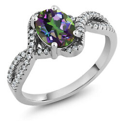 2.18 Ct Oval Green Mystic Topaz 925 Sterling Silver Women's Ring
