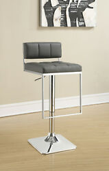 Coaster 100195 6pc Set Adjustable Chrome Gray Low Back Bar Stool with Footrest $1,049.99