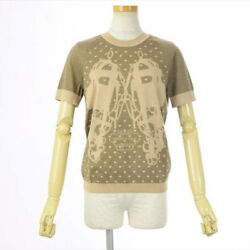 Hermes 2018Aw Brides Gala Crew Neck Short Sleeve Knit Silk Cashmere 38 (90356