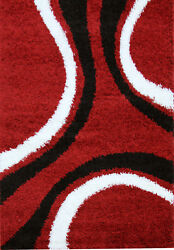 OHAR CURVES DESIGN RED BLACK NON-SHED SHAGGY FLOOR RUG 80x150cm **NEW**