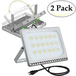 2X 100 Watt Slim LED Flood Lights Cool White Indoor Outdoor Fixtures US Plug