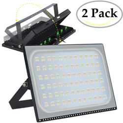 2X 500 Watt Slim High Power LED Flood Light Warm White Indoor Outdoor Fixtures