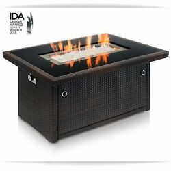 rown 44Inch Outdoor Propane Gas Fire Pit Table Black Tempered Tabletop w