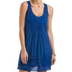 NWT Vineyard Vines Block Print Flower Embroidered Cover Up Tunic Dress Blue S $39.98
