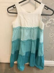 Girls River Island Summer Dress White Teal Size 8 Straps $6.23