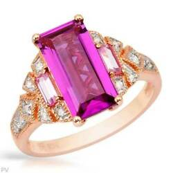 Diamond and Created Pink Sapphire Ring. 10K Rose Gold. Size 6.5. New.
