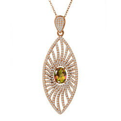 5.38 Ct Oval Mango Mystic Topaz 925 Rose Gold Plated Silver Pendant