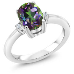 1.63 Ct Oval Green Mystic Topaz 925 Sterling Silver 3 Stone Engagement Ring