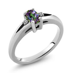 0.53 Ct Oval Green Mystic Topaz White Diamond 925 Sterling Silver Ring