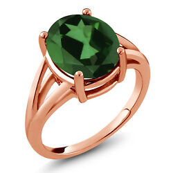 4.00 Ct Oval Green Mystic Quartz 18K Rose Gold Plated Silver Ring