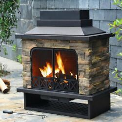 Faux Stone Outdoor Fireplace Steel Wood Burning Modern Portable Black