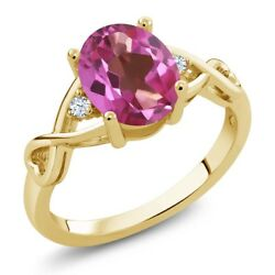 1.85 Ct Oval Pink Mystic Topaz White Topaz 18K Yellow Gold Plated Silver Ring