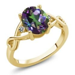 1.86 Ct Oval Green Mystic Topaz White Diamond 18K Yellow Gold Plated Silver Ring