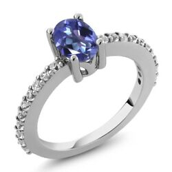 1.25 Ct Oval Purple Blue Mystic Topaz White Created Sapphire 925 Silver Ring
