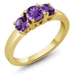 0.98 Ct Round Purple Amethyst 18K Yellow Gold Plated Silver Ring