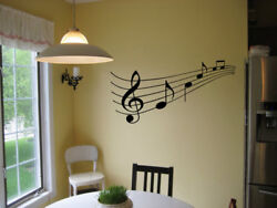 MUSIC STAFF AND NOTES VINYL WALL DECAL STICKER DECOR LETTERING WORDS PIANO 23quot; $9.95