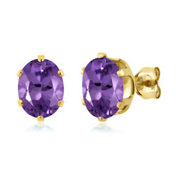 2.20 Ct Oval 8x6mm Purple Amethyst 925 Yellow Gold Plated Silver Stud Earrings