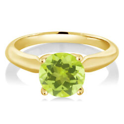 1.85 Ct Round Yellow Lemon Quartz 925 Yellow Gold Plated Silver Ring