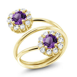 1.50 Ct Round Purple Amethyst 18K Yellow Gold Plated Silver Ring