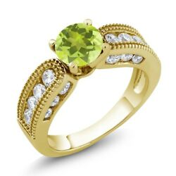 2.04 Ct Round Yellow Lemon Quartz 18K Yellow Gold Plated Silver Ring
