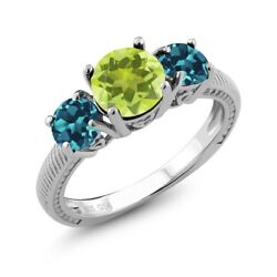 2.20 Ct Round Yellow Lemon Quartz London Blue Topaz 925 Sterling Silver Ring