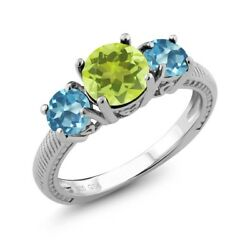 2.20 Ct Round Yellow Lemon Quartz Swiss Blue Topaz 925 Sterling Silver Ring
