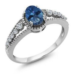 1.01 Ct Oval Blue Mystic Topaz White Topaz 925 Sterling Silver Ring