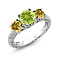 2.10 Ct Round Yellow Lemon Quartz Yellow Citrine 925 Sterling Silver Ring