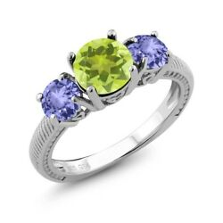 2.12 Ct Round Yellow Lemon Quartz Blue Tanzanite 925 Sterling Silver Ring