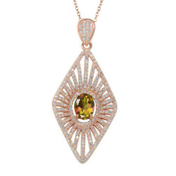 5.34 Ct Oval Mango Mystic Topaz Rose Plated Silver 18