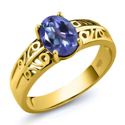 1.30 Ct Oval Purple Blue Mystic Topaz 18K Yellow Gold Plated Silver Ring