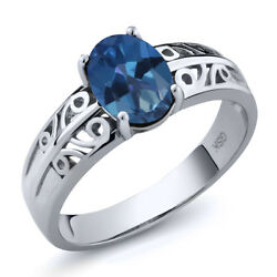 1.30 Ct Oval Royal Blue Mystic Topaz 925 Sterling Silver Ring