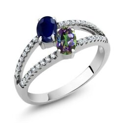 1.46 Ct Oval Blue Sapphire Green Mystic Topaz Two Stone 925 Sterling Silver Ring