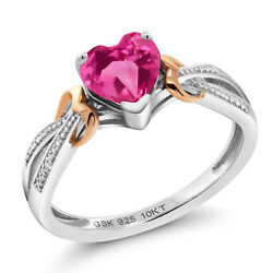 925 Silver & 10K Rose Gold Diamond Ring 0.81 Ct Heart Pink Created Sapphire